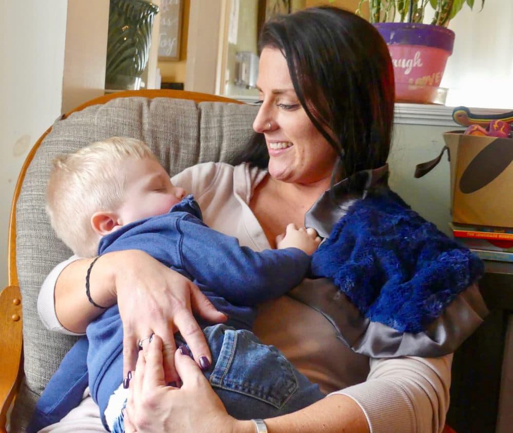 Hope on Haven Hill Treatment Center resident Lauren and her son Rory. (Karyn Miller-Medzon/Here & Now)