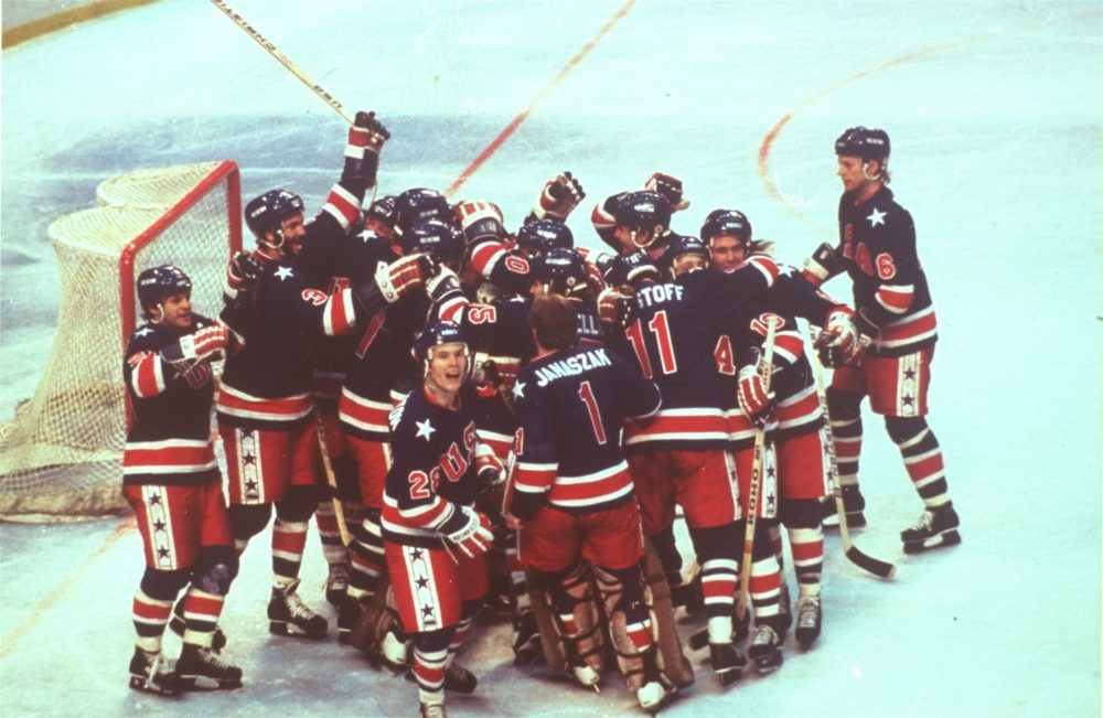 The U.S. hockey team celebrates victory over Finland to win the gold medal, February 23, 1980, at the Winter Olympics, Lake Placid, N.Y.  (AP Photo)