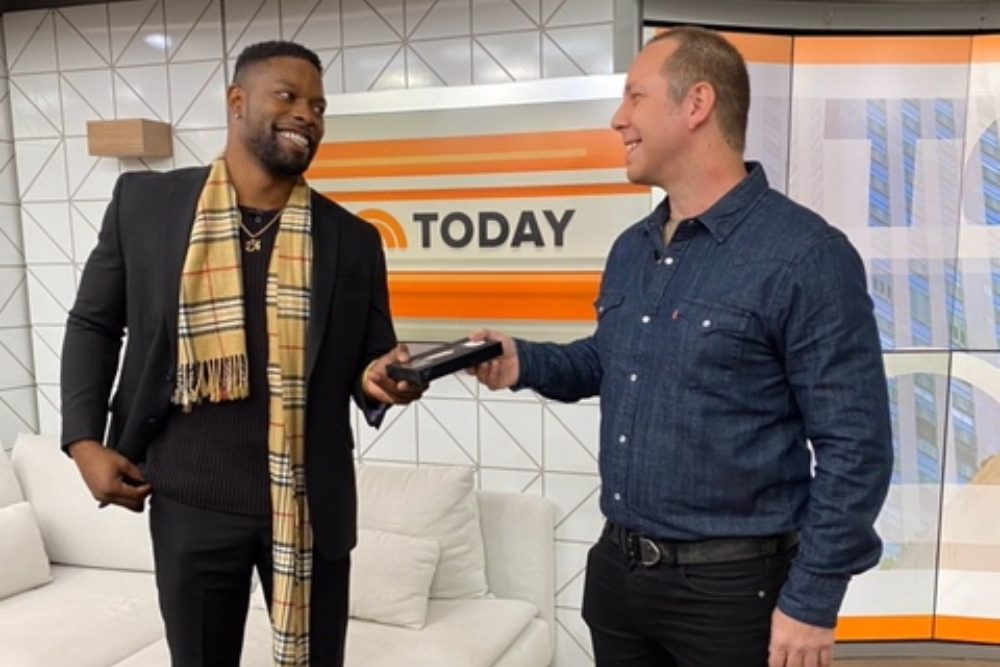 TyRe Alexander and Jim McKay meet on the set of the Today show. (Courtesy TyRe Alexander)