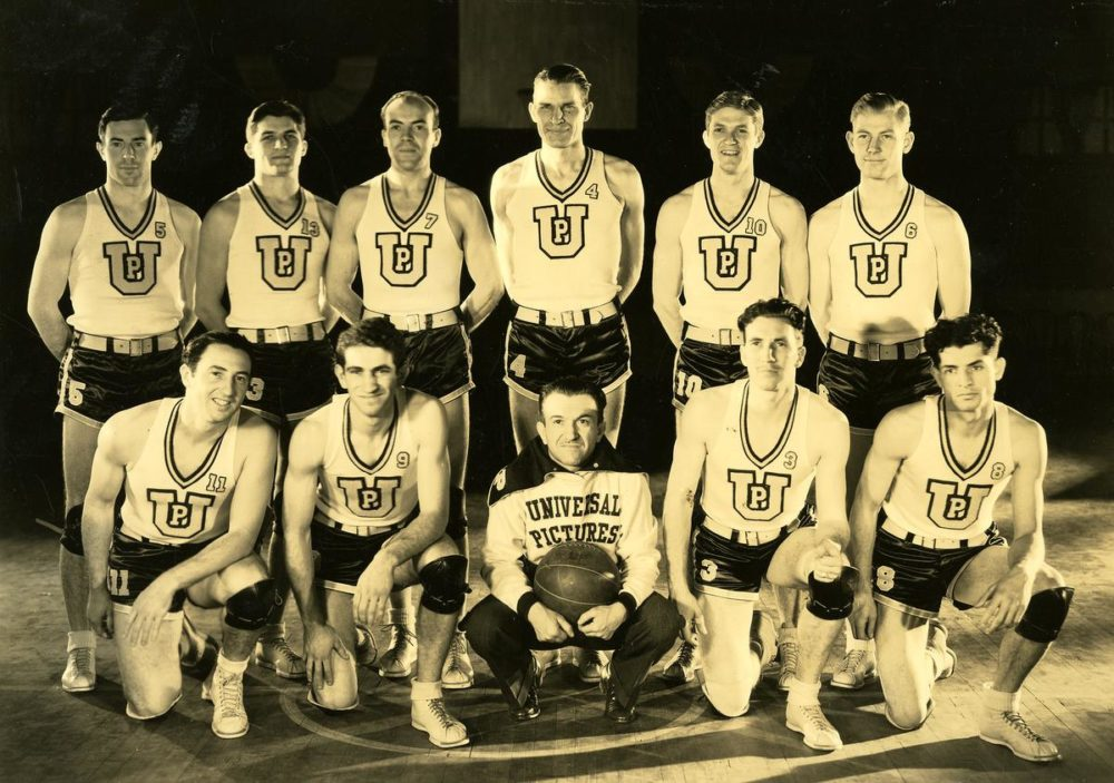The Universal Pictures basketball team from 1935. Back in the mid '30s, the studio's basketball team helped promote its films. And in 1936, the team earned the right to go to the Olympics. (Courtesy NBC Universal)