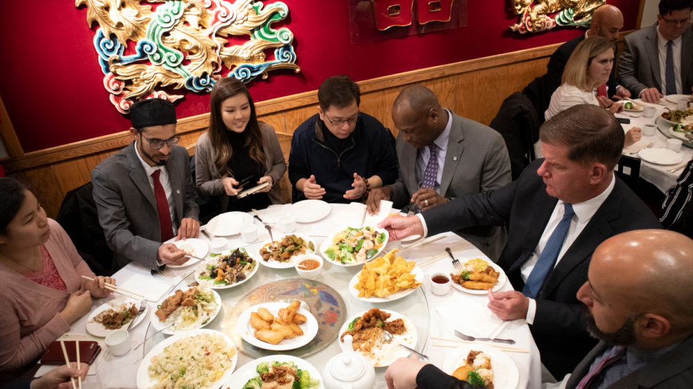 Mayor Walsh, second from right, having lunch at Jade Garden in Boston's Chinatown. (Adrian Ma/WBUR)