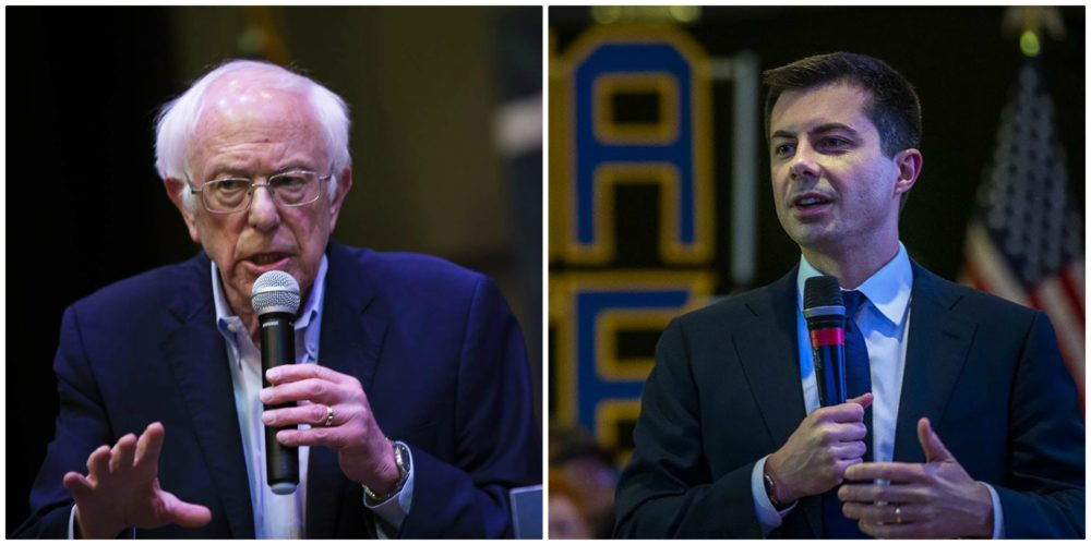 Democratic presidential candidates Sen. Bernie Sanders, left, and Pete Buttigieg. (Jesse Costa/WBUR)
