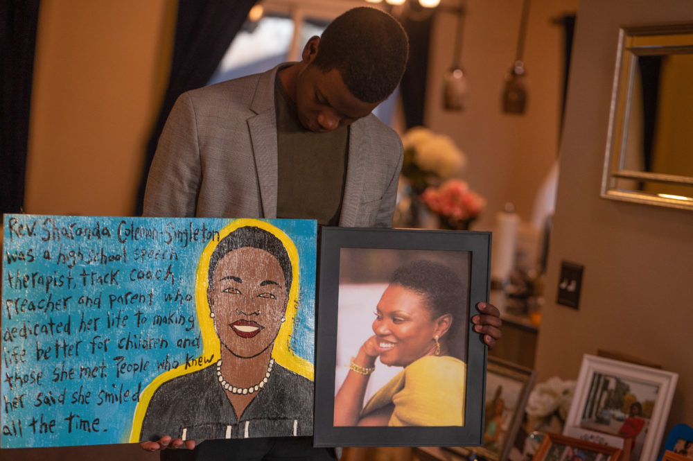 Chris Singleton, the son of Emmanuel AME Church shooting victim Sharonda Coleman Singleton, at his home in Hanahan, South Carolina. (Alvin C. Jacobs for Here & Now)