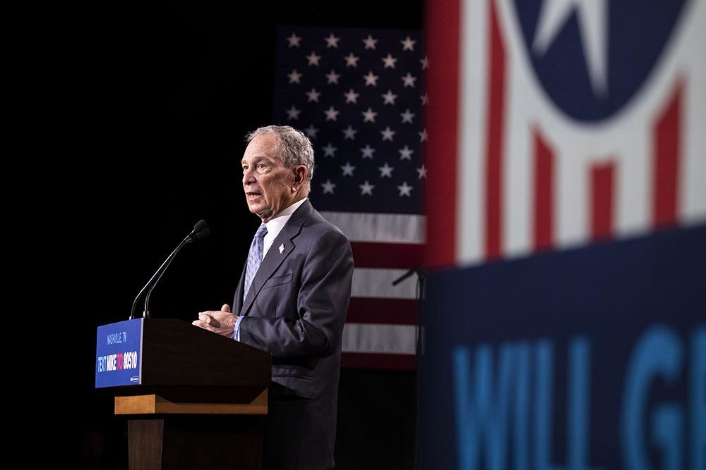 Democratic presidential candidate former New York City Mayor Mike Bloomberg delivers remarks during a campaign rally on February 12, 2020 in Nashville, Tennessee. Bloomberg is holding the rally to mark the beginning of early voting in Tennessee ahead of the Super Tuesday primary on March 3rd.  (Brett Carlsen/Getty Images)