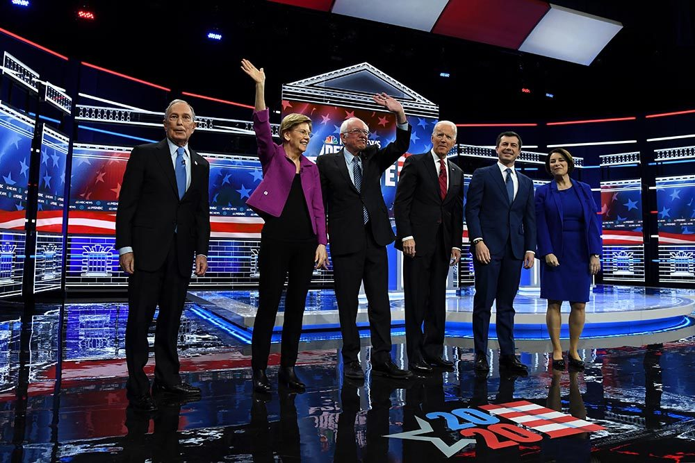 Democratic presidential candidates (L-R) former New York City Mayor Mike Bloomberg, Sen. Elizabeth Warren (D-MA), Sen. Bernie Sanders (I-VT), former Vice President Joe Biden, former South Bend, Indiana Mayor Pete Buttigieg, and Sen. Amy Klobuchar (D-MN) arrive on stage for the Democratic presidential primary debate at Paris Las Vegas on February 19, 2020 in Las Vegas, Nevada. (Ethan Miller/Getty Images)