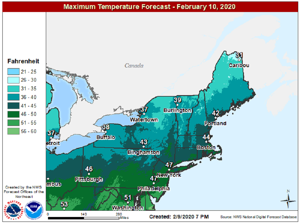 Highs today will reach the lower 40s