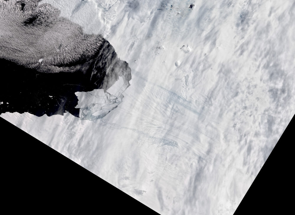 Pine Island Glacier in Antarctica spawns new iceberg on February 11, 2020. (Courtesy of NASA)