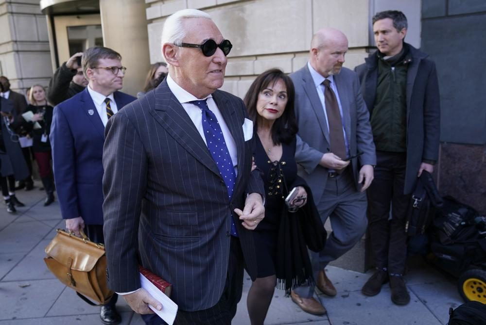 Former advisor to U.S. President Donald Trump, Roger Stone, departs the E. Barrett Prettyman United States Courthouse with his wife Nydia after being found guilty of obstructing a congressional investigation into Russia's interference in the 2016 election on November 15, 2019 in Washington, DC.  (Win McNamee/Getty Images)