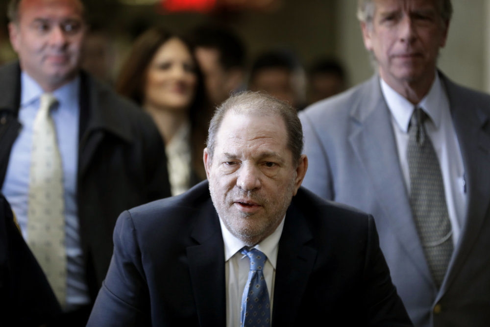 Harvey Weinstein arrives at a Manhattan courthouse as jury deliberations continue in his rape trial, Monday, Feb. 24, 2020, in New York. (Seth Wenig/AP Photo)