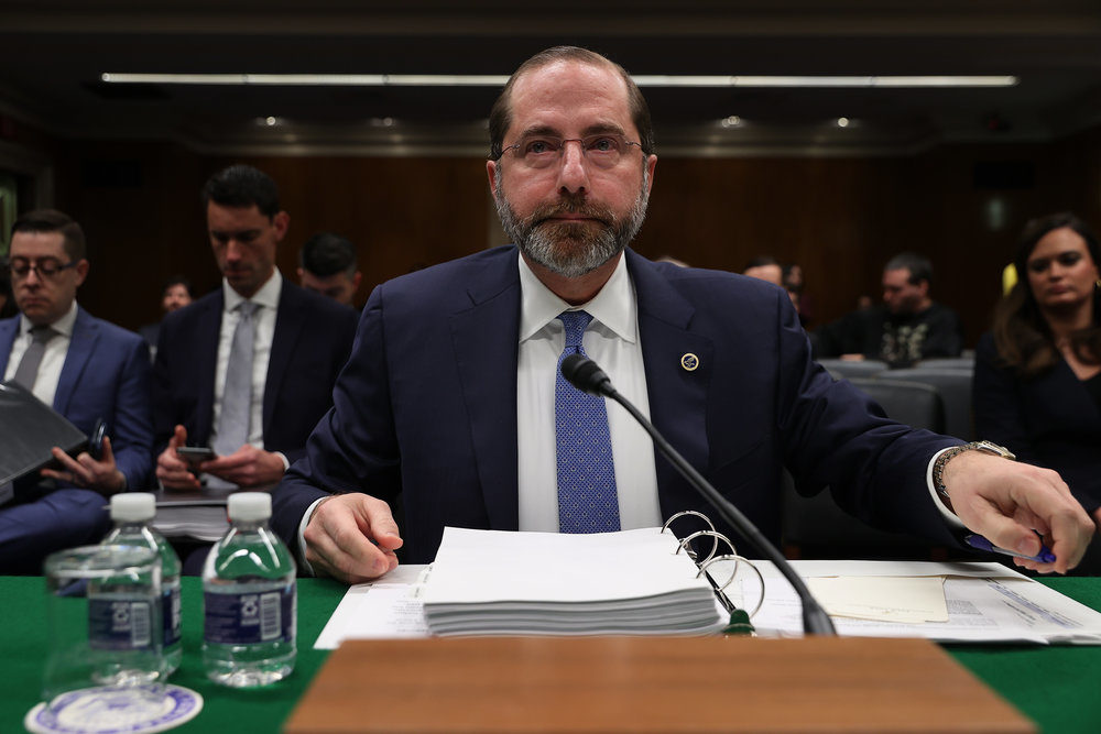 Health and Human Services Secretary Alex Azar testifies before the Senate Labor, Health and Human Services, Education and Related Agencies Subcommittee in the Dirksen Senate Office Building on Capitol Hill February 25, 2020 in Washington, DC.(Chip Somodevilla/Getty Images)