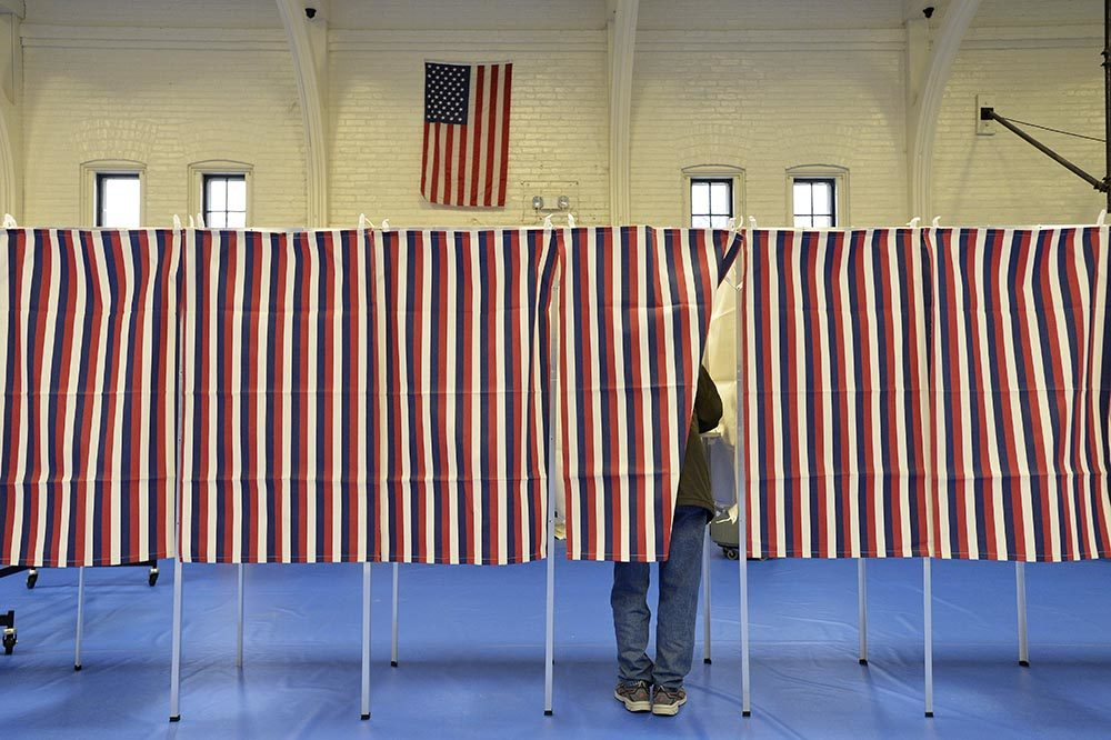 Voting booths filled the the Ward Five Community Center during the New Hampshire primary in Concord, New Hampshire on February 11, 2020.   (JOSEPH PREZIOSO/AFP via Getty Images)