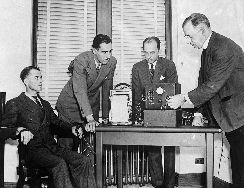 Policeman Charles M. Fremgeen is submitted to a lie detector test at Fordham University. (Keystone/Getty Images)