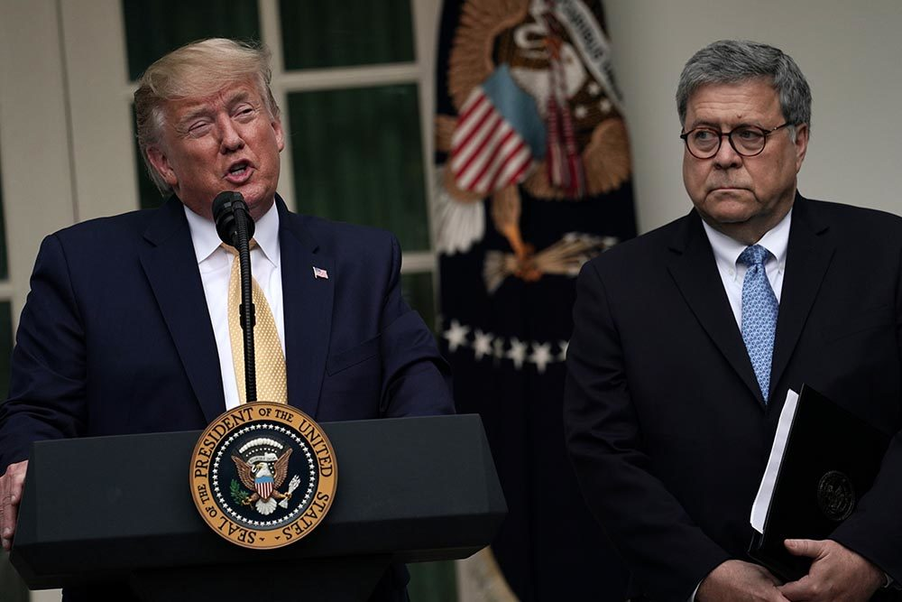 U.S. President Donald Trump makes a statement on the census with Attorney General William Barr in the Rose Garden of the White House on July 11, 2019 in Washington, DC. (Alex Wong/Getty Images)