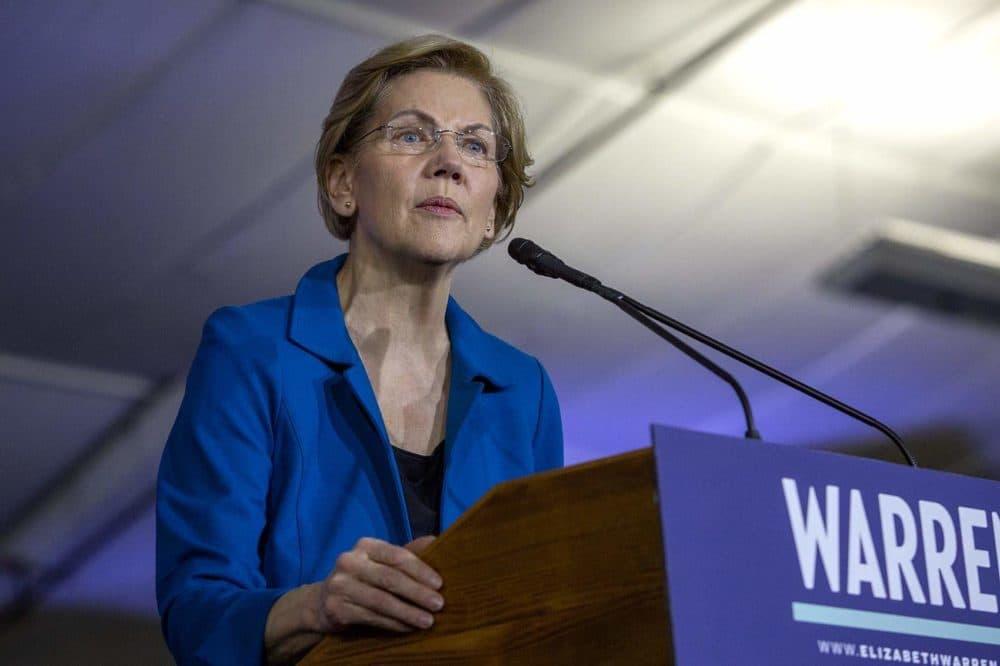 Sen. Elizabeth Warren talks to supporters on primary night in Manchester, N.H. She recently endorsed Michelle Wu for Boston mayor. (Robin Lubbock/WBUR)
