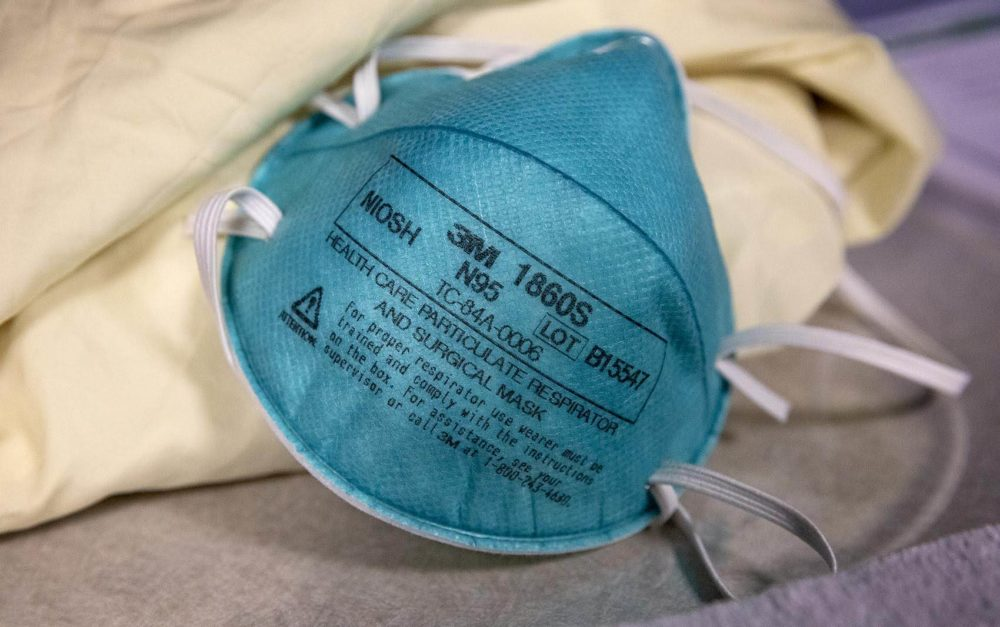 An N95 protective mask which Tufts medical staff would wear if they were assigned to treat a patient suspected of having an infectious disease such as a coronavirus. (Robin Lubbock/WBUR)