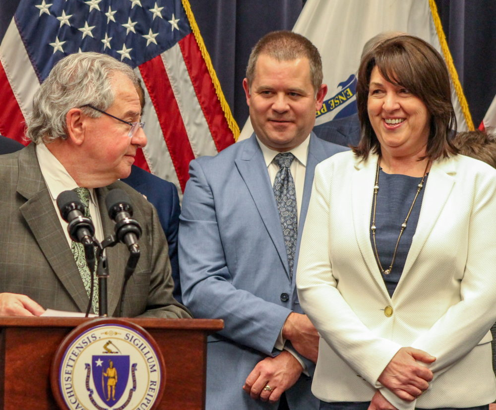 Rep. Michael Day (center) at a 2018 press conference with Speaker Robert DeLeo and Rep. Claire Cronin (right). (Sam Doran/SHNS File Photo)