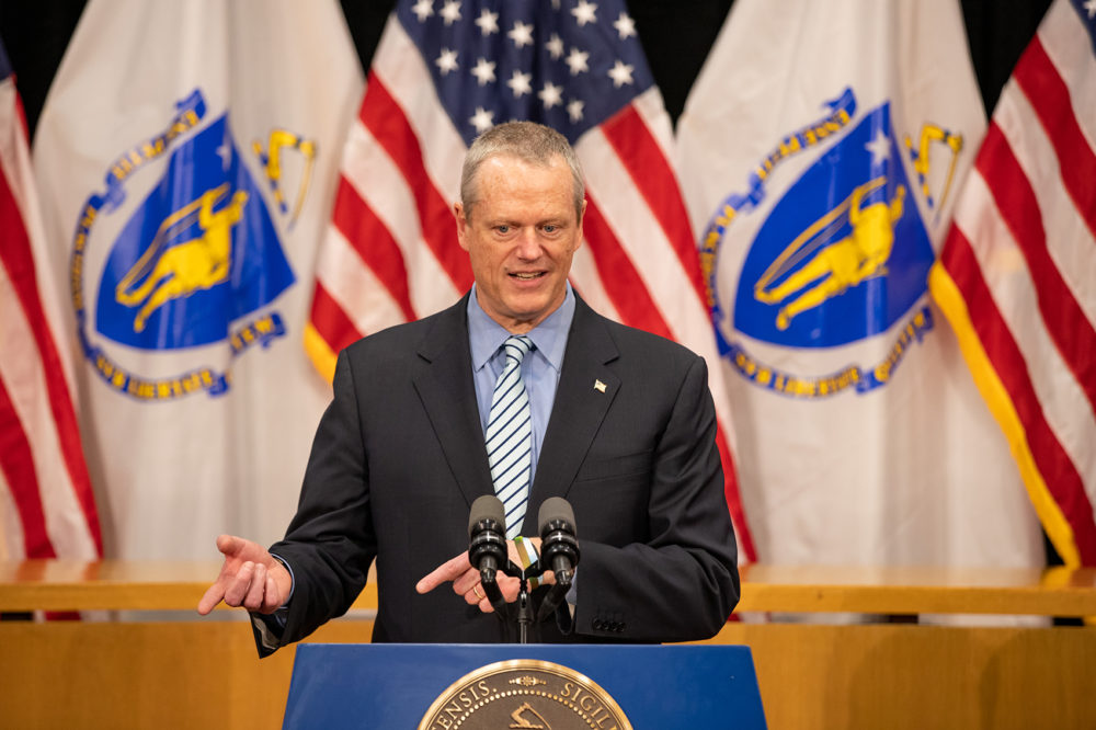 Gov. Charlie Baker announced a new measure Wednesday extending the state's three-week school closure through at least May 4. (Sam Doran/State House News Service)