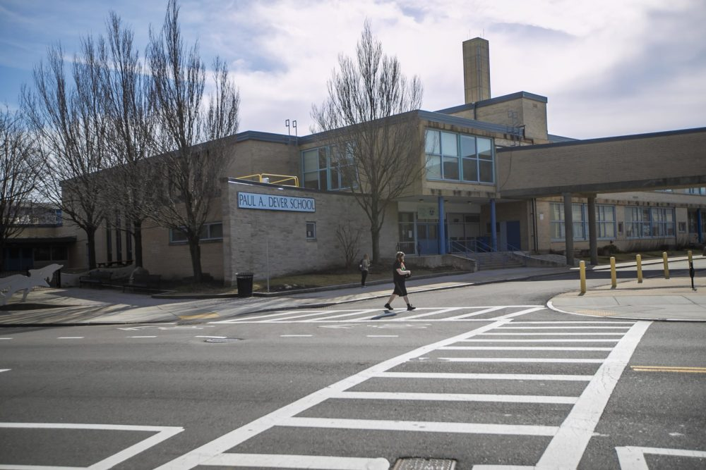 Paul A. Dever Elementary School is one of two Boston Public Schools under state receivership. State education officials are not recommending taking over the Boston schools at this time. (Jesse Costa/WBUR)