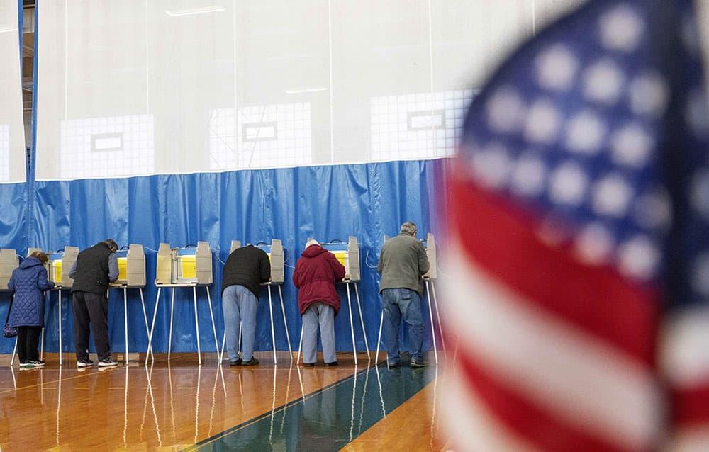 Voters in Seekonk cast their ballots. (David Goldman/AP)