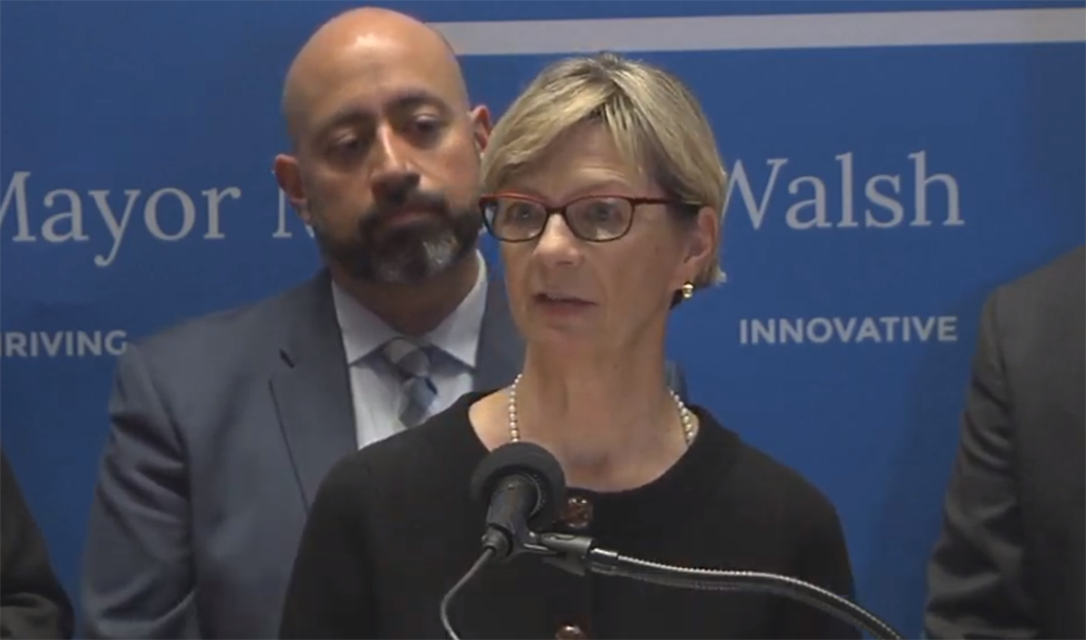 Massachusetts Secretary of Health and  Human Services Marylou Sudders gives an update about cases of COVID-19 in the state during a press conference on Friday, March 6, 2020. (Screenshot of city of Boston video)