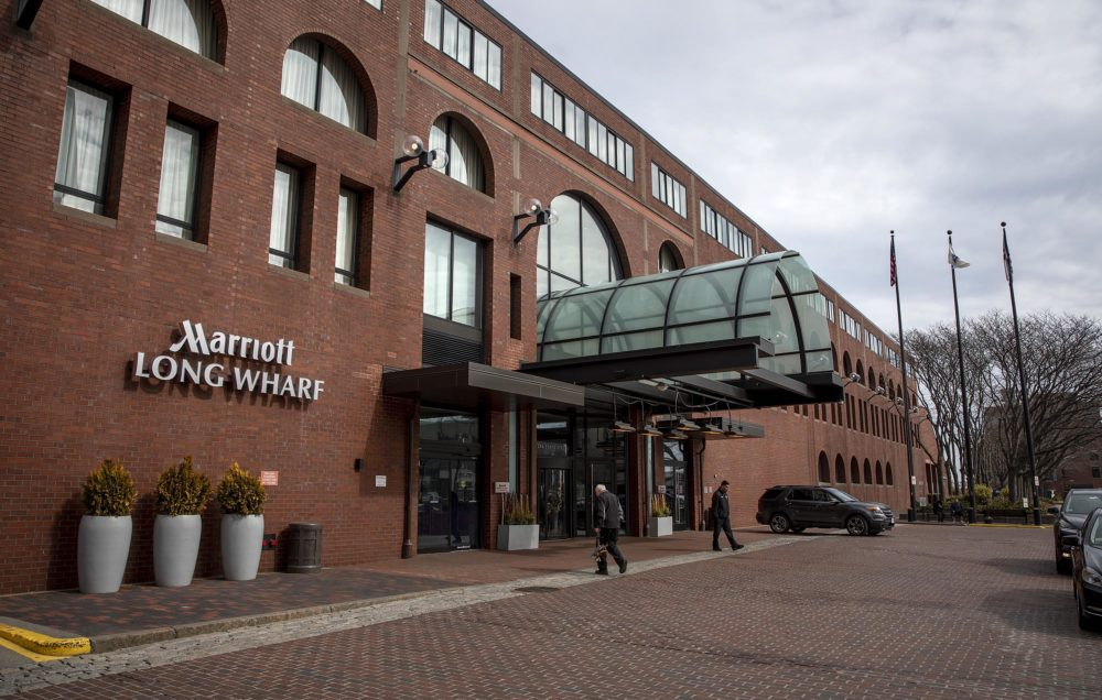 The Marriott Long Wharf hotel in Boston. (Robin Lubbock/WBUR)