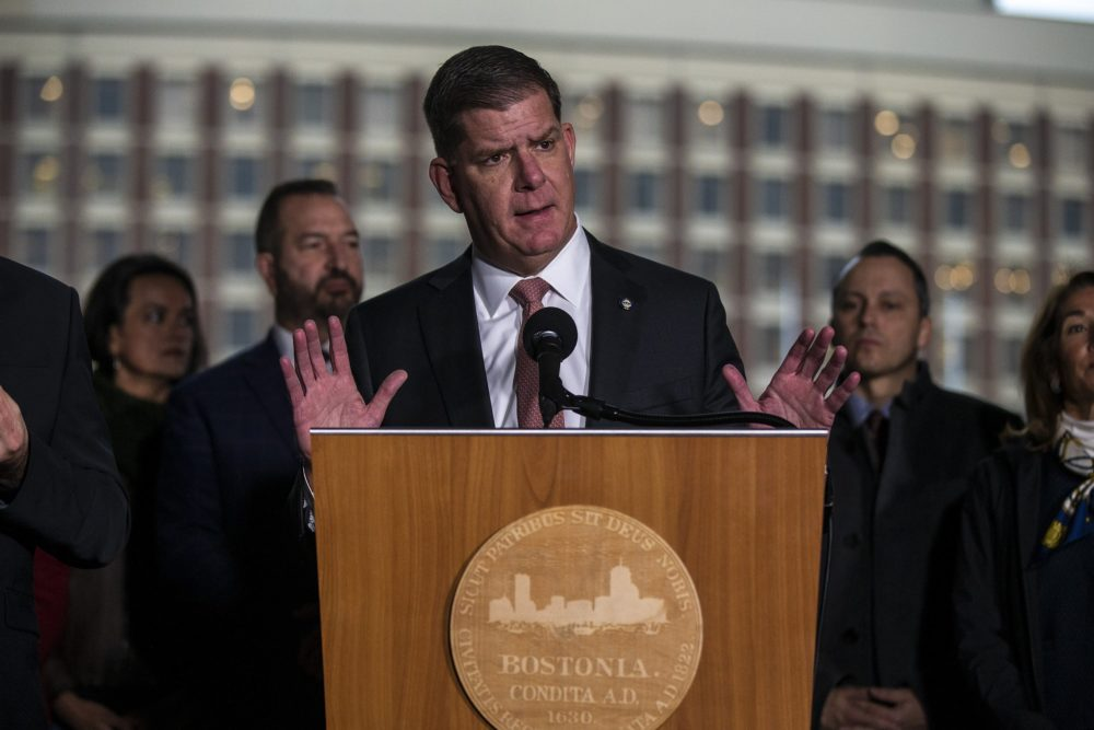 Mayor Marty Walsh announces the postponement of the Boston Marathon until September at City Hall due to concerns about the coronavirus outbreak at City Hall on March 13. (Jesse Costa/WBUR)