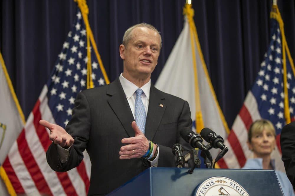Gov. Charlie Baker speaks during a coronavirus update at the State House. (Jesse Costa/WBUR)