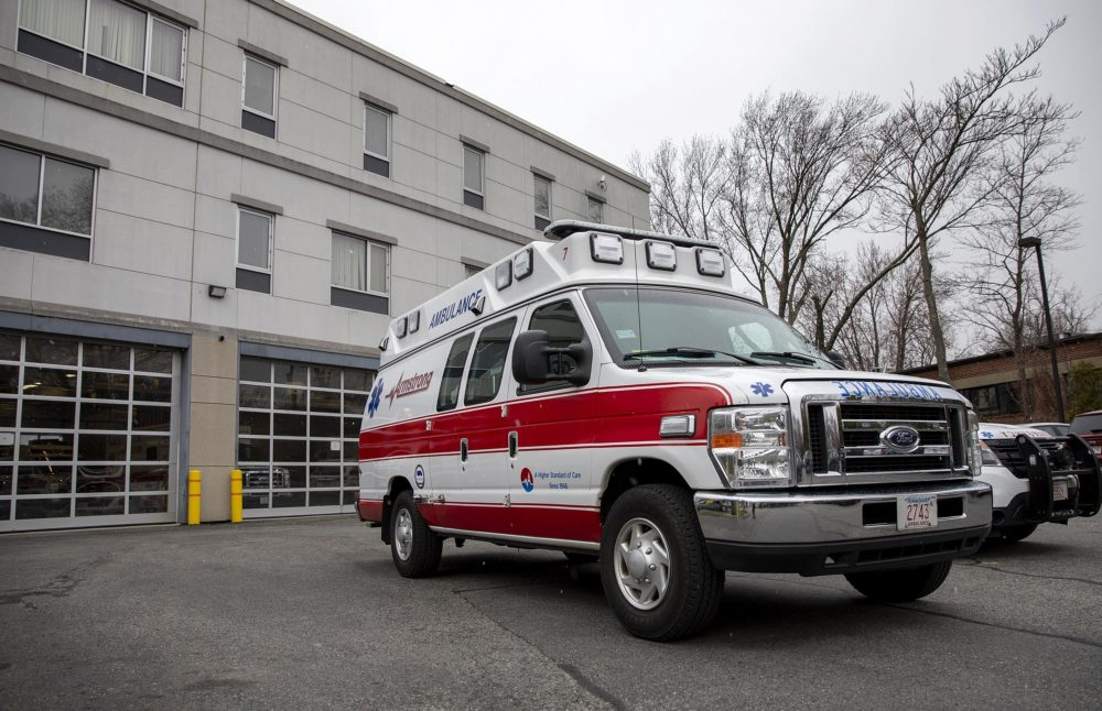 An EMS vehicle at Armstrong Ambulance's headquarters in Arlington, Mass. (Robin Lubbock/WBUR)