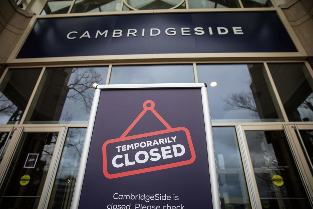 The Cambridgeside Galleria was closed on Monday in a response to the COVID-19 pandemic aimed at slowing the spread of the coronavirus. (Robin Lubbock/WBUR)
