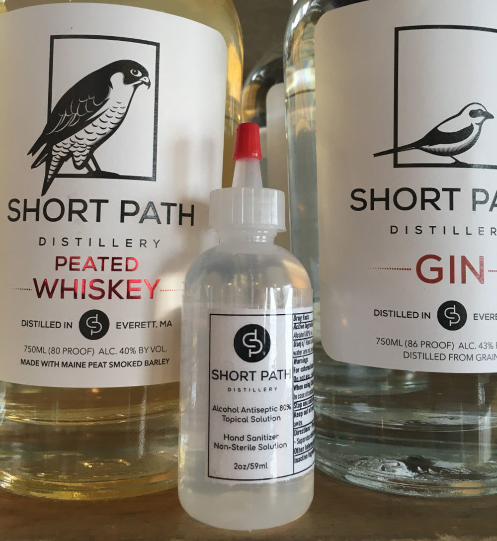 Short Path Distillery in Everett is among the Massachusetts distilleries creating needed hand sanitizer as people fight the coronavirus pandemic. (Courtesy Short Path Distillery)
