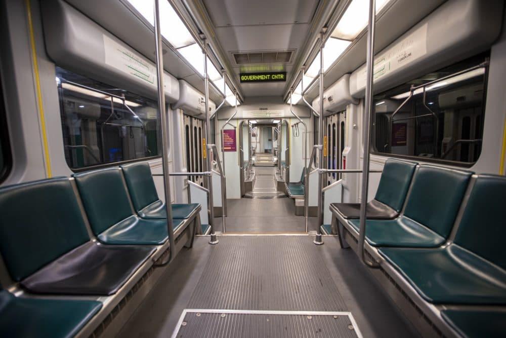 An empty MBTA Green Line train en route to Government Center. (Jesse Costa/WBUR)