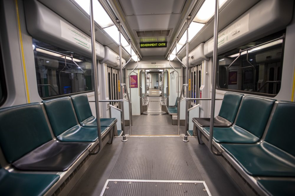 An empty MBTA Green Line train en route to Government Center. (Jesse Costa/WBUR)