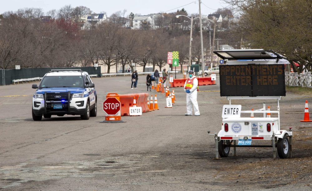 The entrance for people with appointments of the COVID-19 testing station at Suffolk Downs. (Robin Lubbock/WBUR)