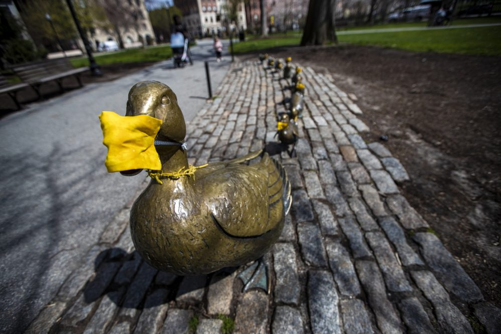 "In this photo from April 10, all of the ducks of the ""Make Way for Ducklings"" sculpture in the Boston Public Garden don yellow masks. (Jesse Costa/WBUR)"
