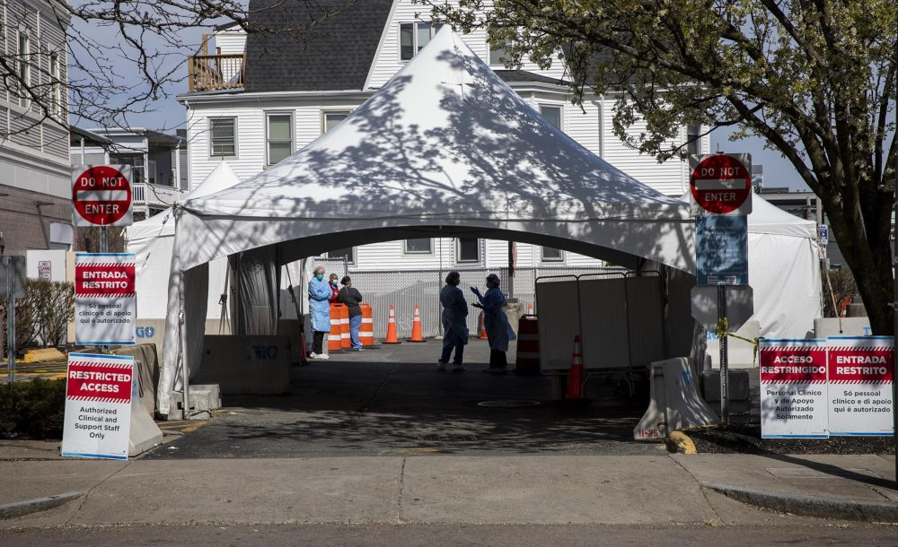 The drive-in and walk-in testing station at Bowdoin Street Health Center in Dorchester. (Robin Lubbock/WBUR)