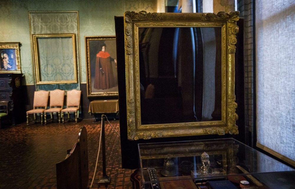 "The empty frame of Vermeer's ""The Concert"" in the Dutch Room of the Isabella Stewart Gardner Museum. (Jesse Costa/WBUR)"