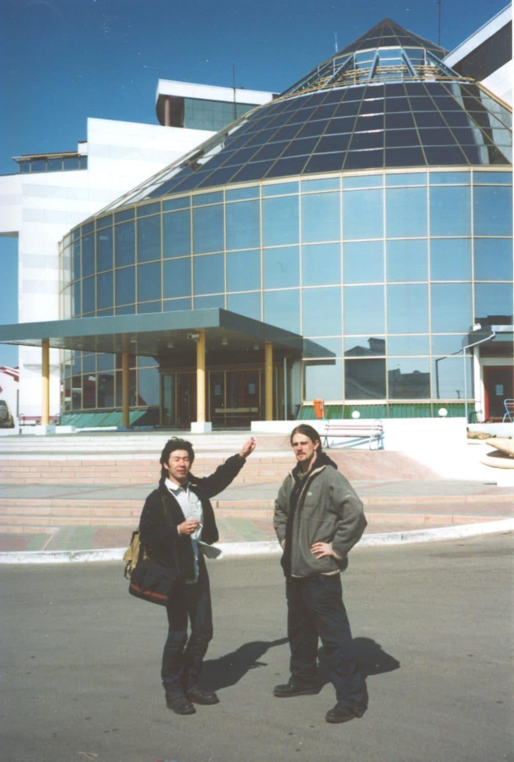 Friends of Daniel Kalder in front of the Palace of Chess. (Daniel Kalder)