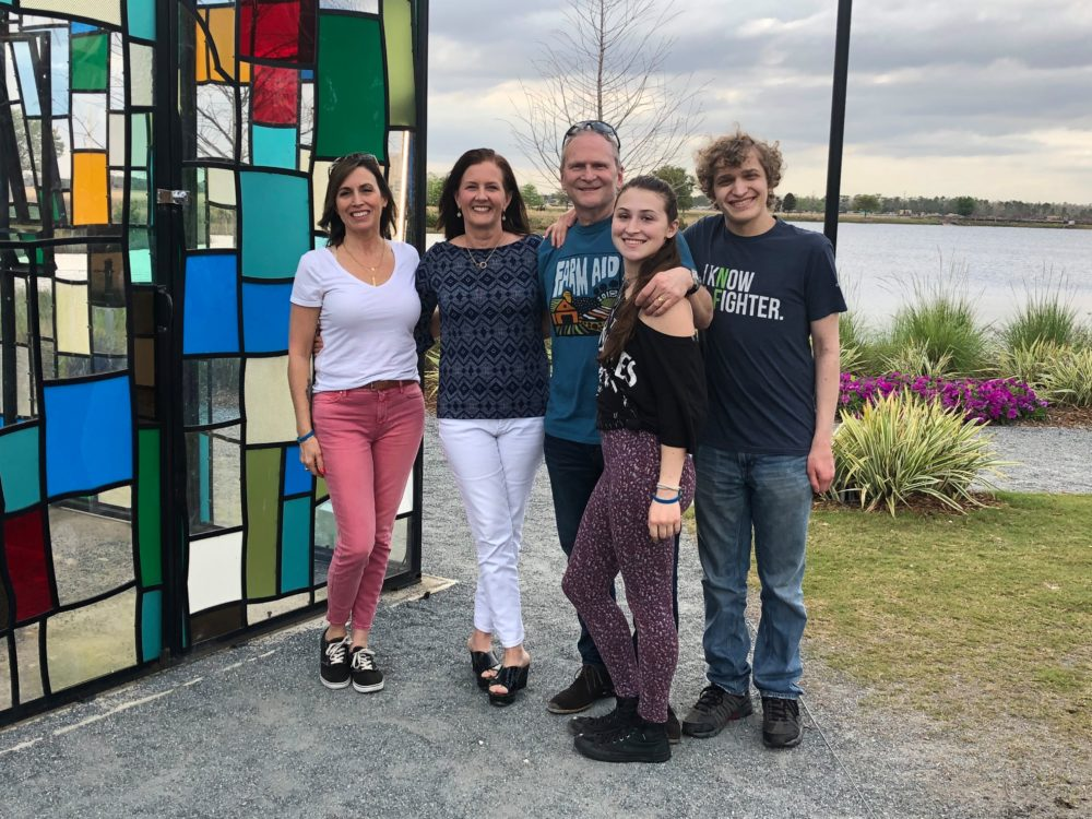 Connie Sorman, Nancy Kinnally and their families meet in Orlando in March 2019. (Courtesy Nancy Kinnally)