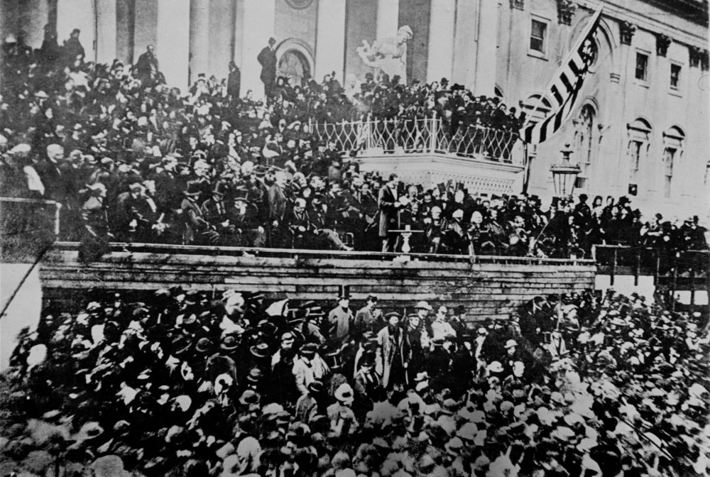 A scene in front of the East front of the U.S. Capitol is seen during President Abraham Lincoln's second inauguration, 1865, just six weeks before his assassination.  (AP Photo/File)