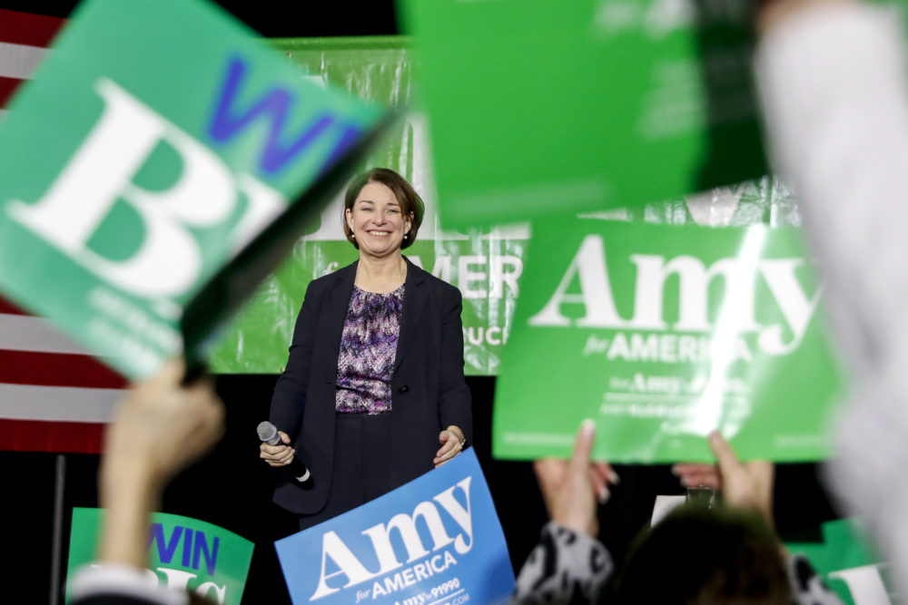 Democratic presidential candidate Sen. Amy Klobuchar, D-Minn., gestures as she finishes speaking at a rally at the State Theatre, Friday, Feb. 28, 2020, in Falls Church, Va. (Andrew Harnik/AP)
