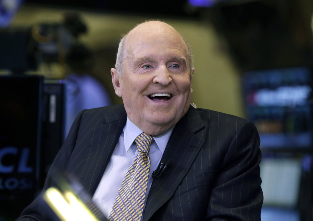 In this 2013 file photo, former Chairman and CEO of General Electric Jack Welch appears on CNBC on the floor of the New York Stock Exchange. Welch has died at the age of 84. (Richard Drew/AP File Photo)