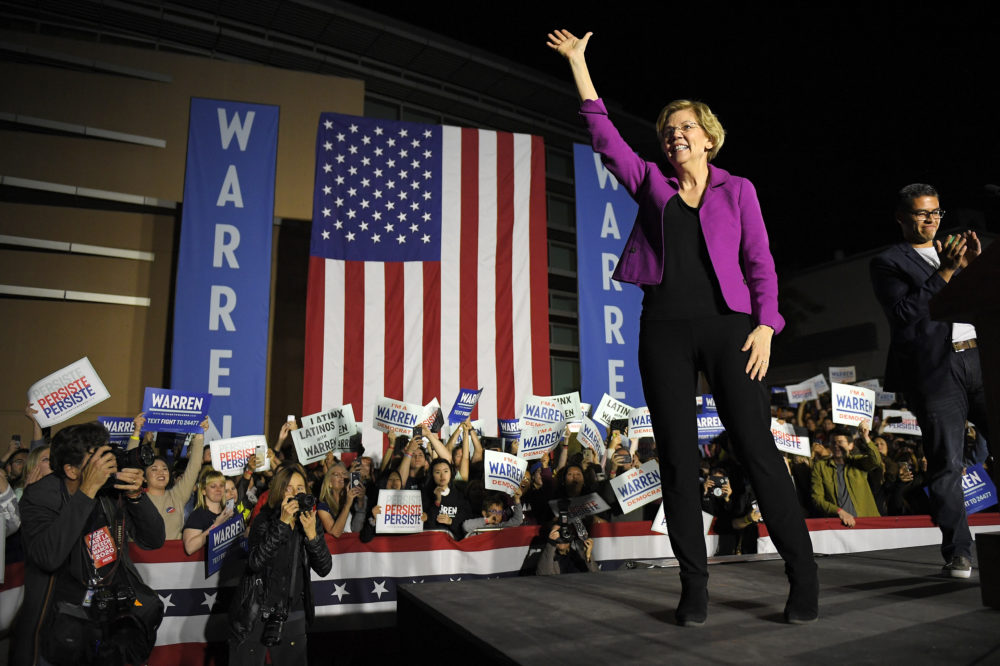 Democratic presidential candidate Sen. Elizabeth Warren, D-Mass., waves to supporters after speaking, Monday, March 2, 2020, in the Monterey Park section of Los Angeles. (Mark J. Terrill/AP)