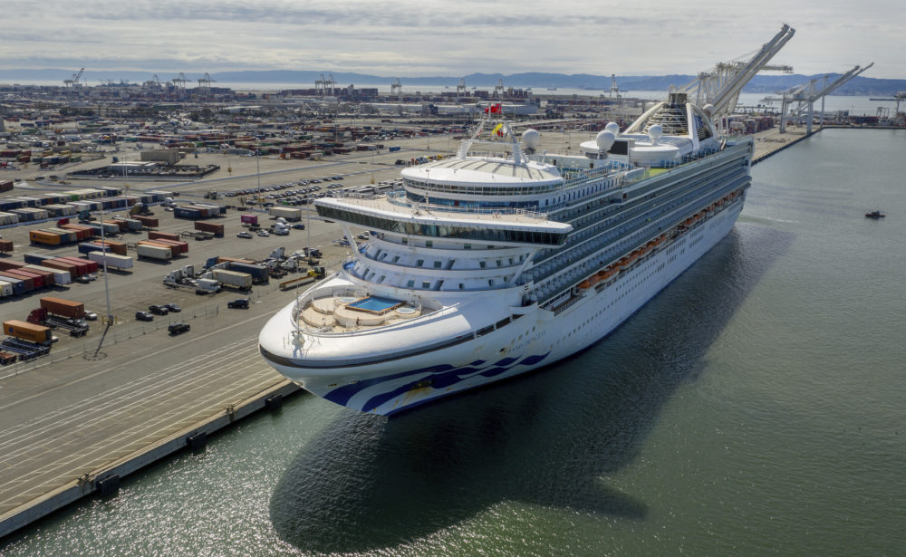 The Grand Princess docks at the Port of Oakland in Oakland, Calif., on Monday, March 9, 2020. The cruise ship is carrying multiple people who tested positive for COVID-19. (Noah Berger/AP)