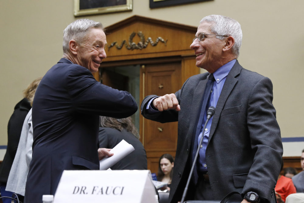 Rep. Stephen Lynch, D-Mass., left, bumps elbows with Dr. Anthony Fauci, director of the National Institute of Allergy and Infectious Diseases, prior to testimony from Fauci before a House Oversight Committee hearing on preparedness for and response to the coronavirus outbreak on Capitol Hill in Washington, Wednesday, March 11, 2020. (Patrick Semansky/AP)