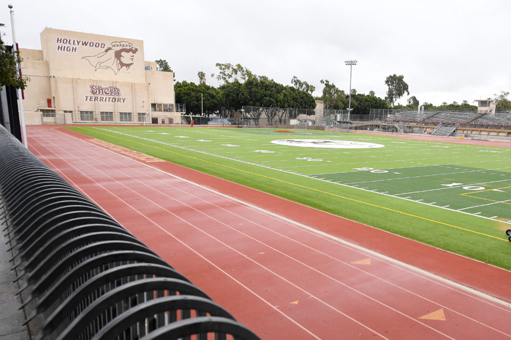 The athletic field is empty at Hollywood High School in the Hollywood section of Los Angeles.(Mark J. Terrill/AP)