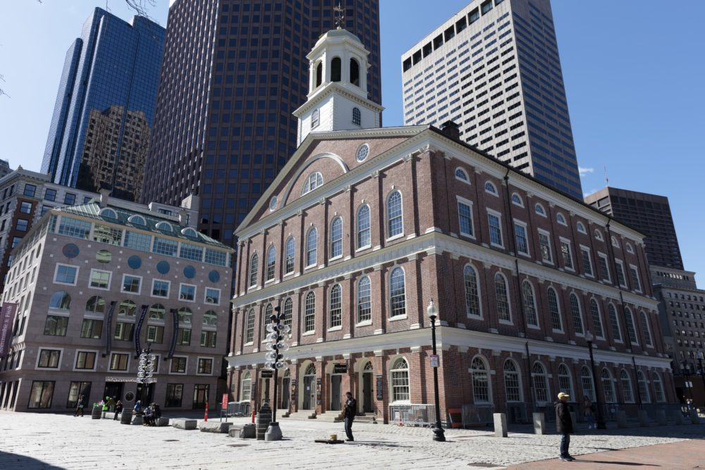 The plaza is empty in front of Faneuil Hall in Boston on Saturday, March, 14, 2020.  Gov. Charlie Baker on Friday issued an emergency order banning most gatherings of more than 250 people to help prevent the spread of COVID-19 coronavirus.  (Michael Dwyer/AP)