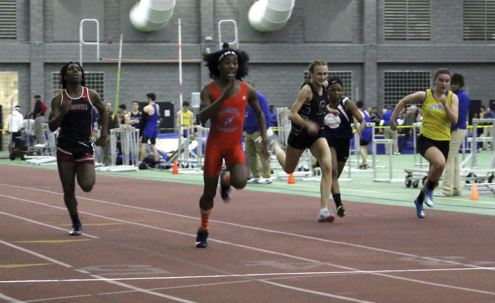 In this Feb. 7, 2019 file photo, Bloomfield High School transgender athlete Terry Miller, second from left, wins the final of the 55-meter dash over transgender athlete Andraya Yearwood, far left, and other runners in the Connecticut girls Class S indoor track meet at Hillhouse High School in New Haven, Conn. (Pat Eaton-Robb/AP File Photo)