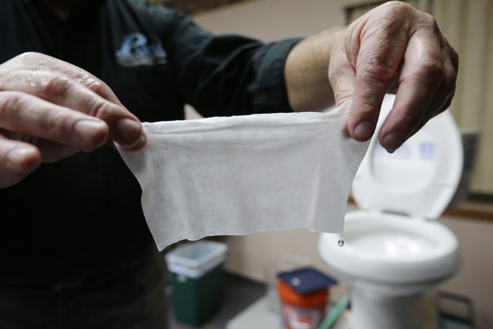 """More people are clogging wastewater treatment systems with erroneously labeled """"flushable"""" wipes. (Julio Cortez/AP)"""