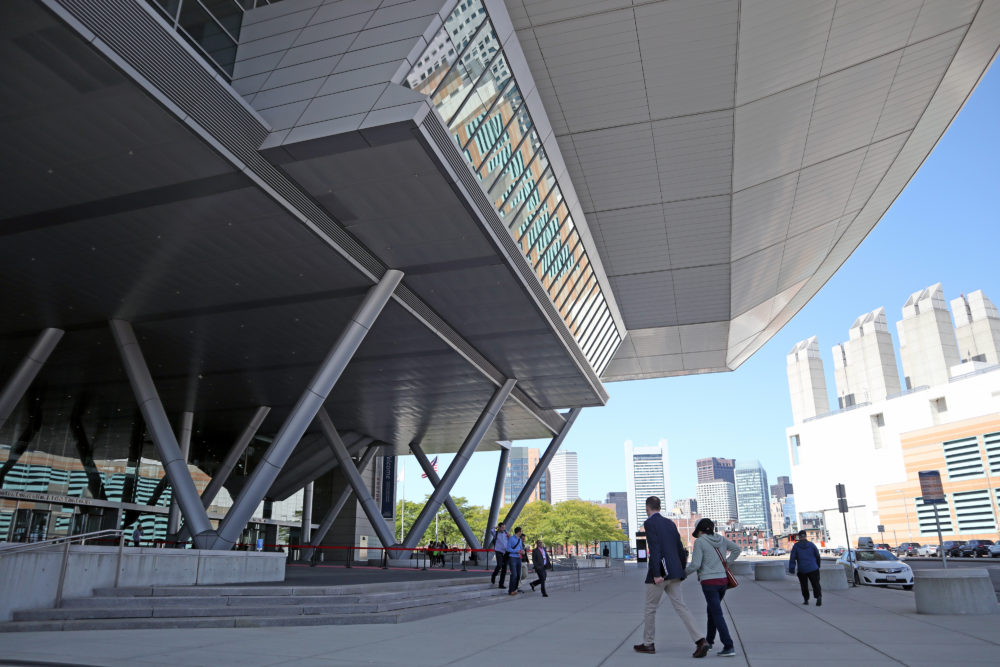 The entrance to the Boston Convention & Exhibition Center in the Seaport. (Adrian Ma/WBUR)
