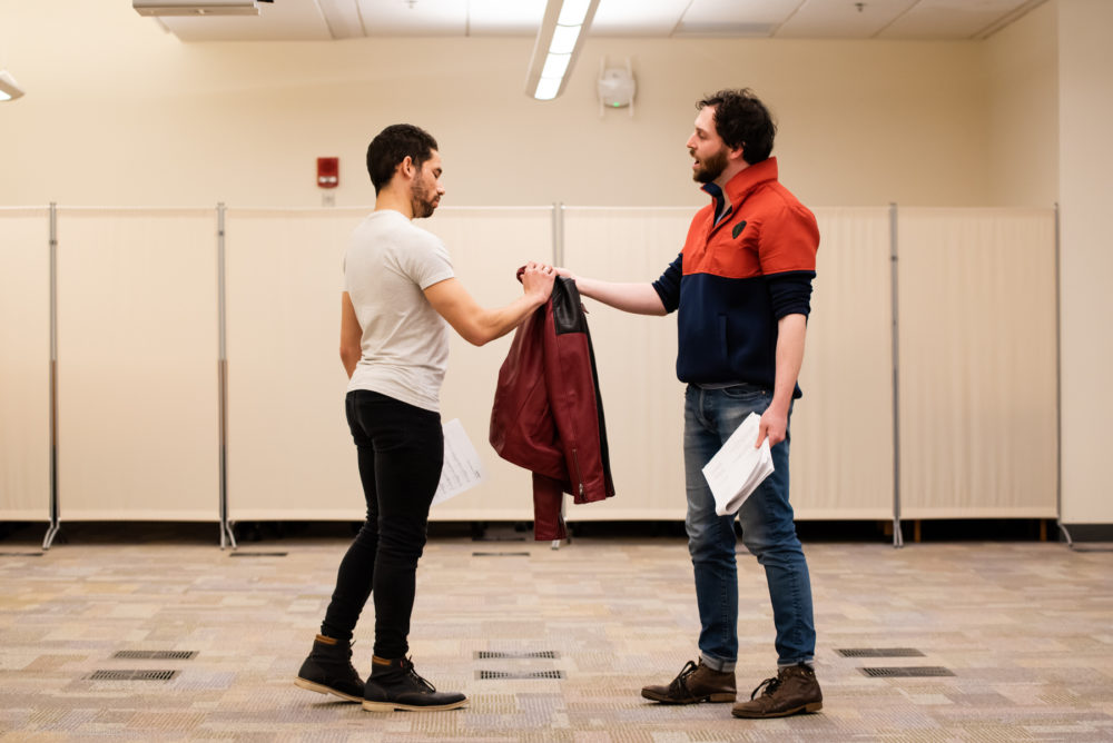 "Felton Sparks (left) as David and Ben Freeman as Jonathan during rehearsal for ""Beloved King."" (Courtesy Jonathan Beckley)"